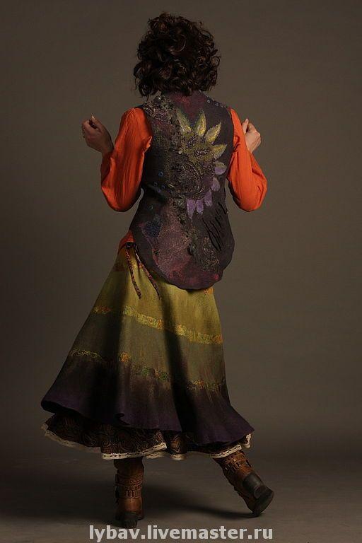 Купить Дети цветов - валяный жилет, дети цветов, комбинированный, одежда для женщин, одежда из войлока