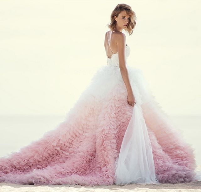 This pink ombre gown from Mania has captivated us all! #ombré #pink #gown…