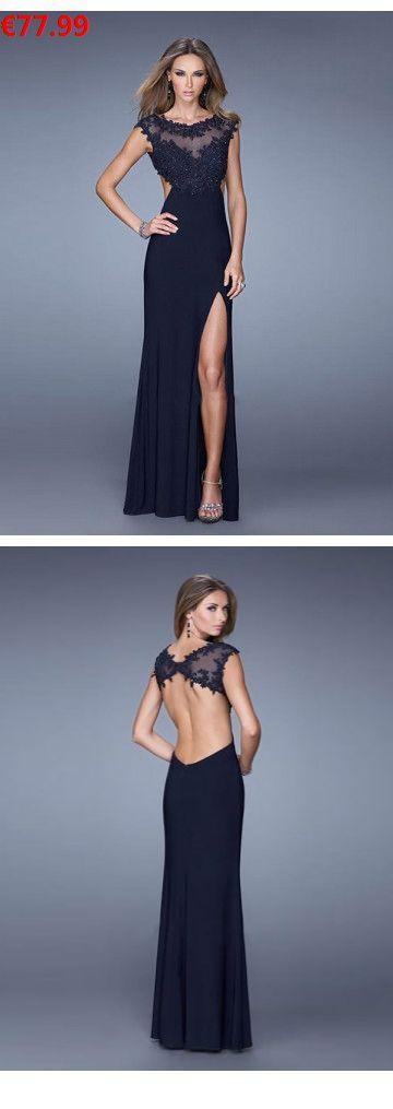 Linha A Decote redondo Longos Chiffon Vestidos de festa   – Kleid