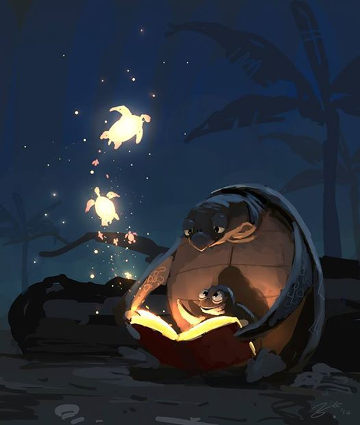 A Hawaiian themed Bedtime Story door Goro Fujita (2014)  De lichtval vind ik in dit beeld erg mooi. Het voelt heel natuurlijk aan doordat het vrij zachte schaduwen geeft (als een klein vuurtje) terwijl het een hele onrealistische setting is.