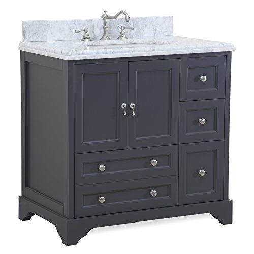 Madison 36 Inch Bathroom Vanity Carrara Charcoal Gray Includes Italian Marble Top Cabinet With Soft Close Drawers Doors And