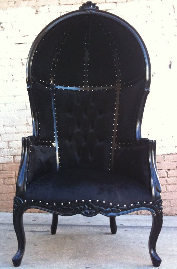 Black Porters Chair Domed King Queen Throne Bubble Hooded Armchair  Hollywood Regency Rock Star