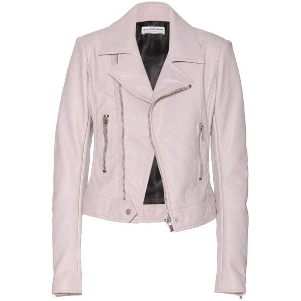 Balenciaga Leather Biker Jacket (£1,235) ❤ liked on Polyvore featuring…
