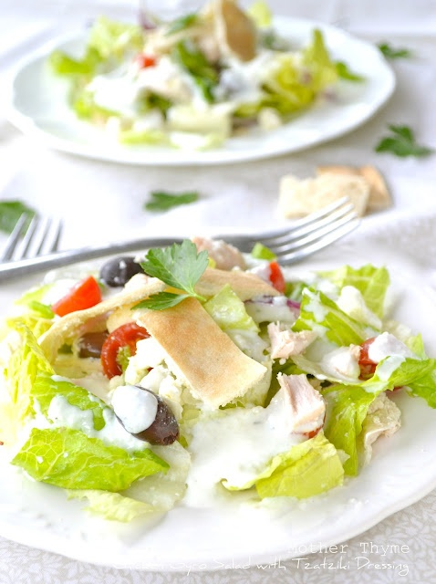 Chicken Gyro Salad with Tzatziki Dressing: Salad Recipes, Clean Eating, Gyros Salad, Mothers Thyme, Yogurt Recipes, Tzatziki Dresses, Rotisserie Chicken, Recipes Week, Chicken Gyros