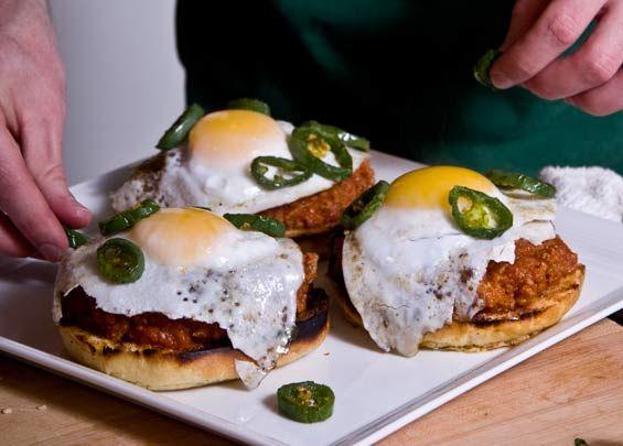 Wild Boar Sloppy Joe on Brioche Bun with Peppers and Duck Egg Recipe, needs fried onions like Quinn's