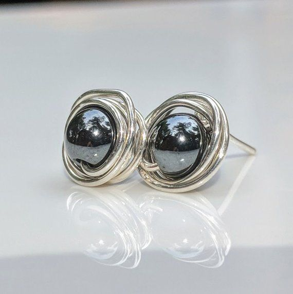 67c58f7fa Hematite stud earrings /Black pearl earrings/Sterling silver earrings/Minimalist  earrings/Gift for her/Bridesmaid gift