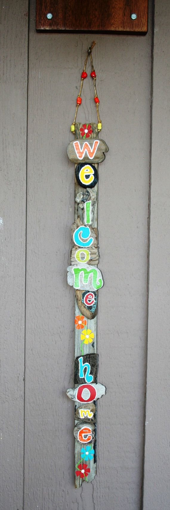 WELCOME HOME Driftwood Sign with bright beachy by SusterWoodworks, $38.00