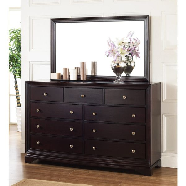 Kingston Espresso Dresser And Mirror Set With 9 Drawer