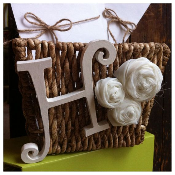 Unique Wedding Gift Basket Ideas: Cream Monogram Wedding Gift Card Basket Personalized Via