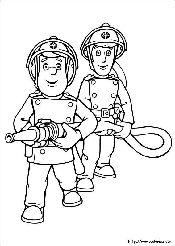 Coloriage de Sam le pompier et la lance à incendie