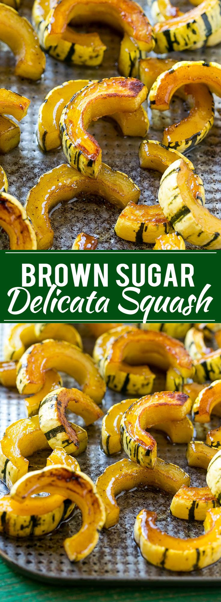 This delicata squash recipe is roasted with brown sugar, maple syrup and cinnamon for a sweet and savory side that's perfect for fall and winter meals.