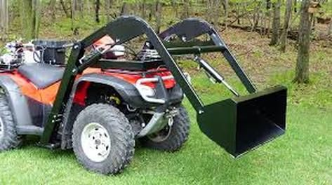 ATV quad bike front bucket attachment. The ATV hydraulic bucket or front loader attaches easily to your ATV quad bike tranforming it into a hydraulic power assisted wheelbarrow capable of lifting up to 300 pounds. For more info: http://www.fresh-group.com/atv-quad-bike-hydraulic-bucket.html