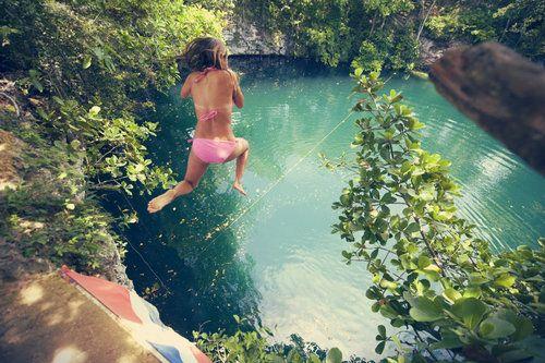 El Dudu Blue Lagoon, Dominican Repubic  cliff jumping