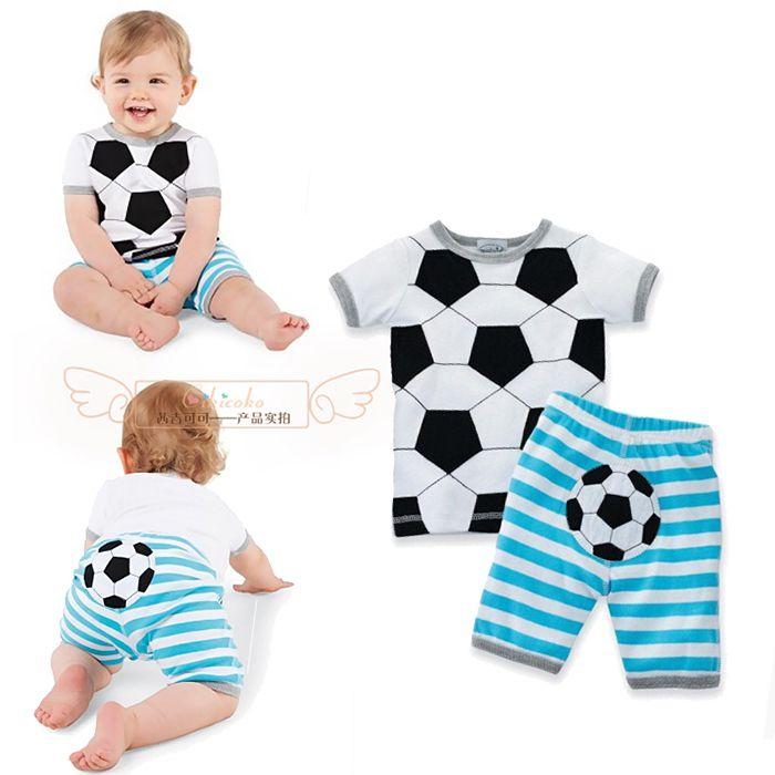 2016 baby boy одежда набор новорожденных лето футбол полосатые 2 шт. набор ребенок спортивный костюм футболка + брюки младенческой мальчики одежда