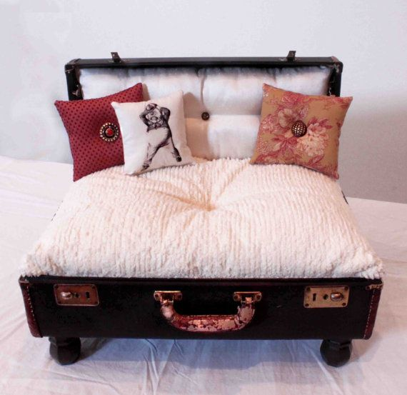 Suitcase Dog Bed Ashton Pet Lounger by designercraftgirl on Etsy, $800.00