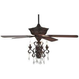 "52"" Casa Contessa® Dark Bronze Chandelier Ceiling Fan"