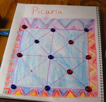 Picaria: Native American game that incorporates math and art when making board.