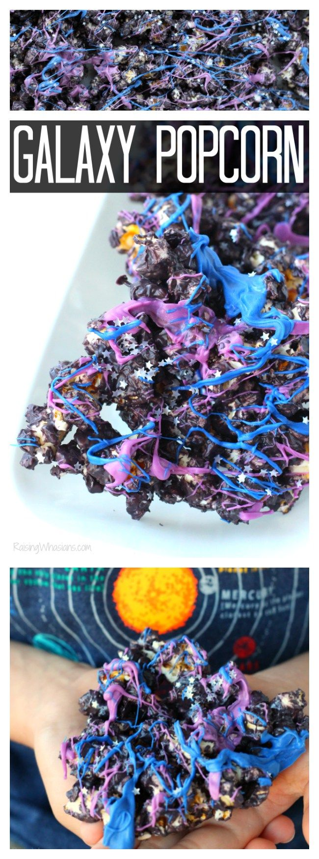 Easy Galaxy Popcorn Snack Idea for your next party and Ice Age: Collision Course Movie Night - Raising Whasians (AD)