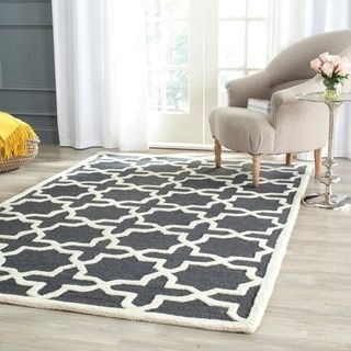 For Safavieh Handmade Moroccan Cambridge Dark Grey Ivory Wool Rug 8 X