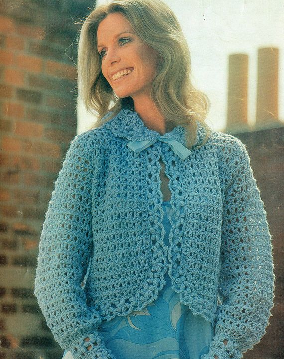 PDF 1970s Ladies Womens Bed Jacket Crochet Pattern Blue