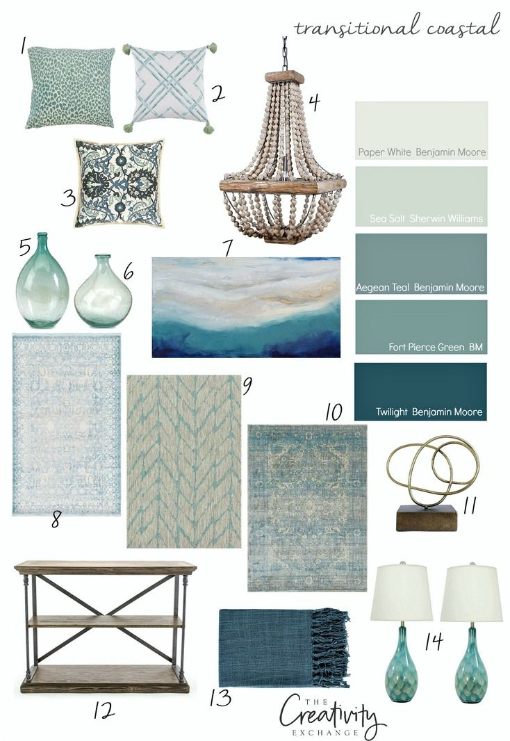 Transitional coastal design paint colors and layering inspiration.