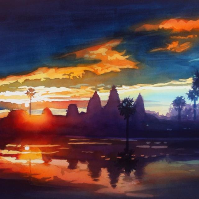 """Sunrise Angkor Wat"" 20x26"" watercolor by Paul Jackson"
