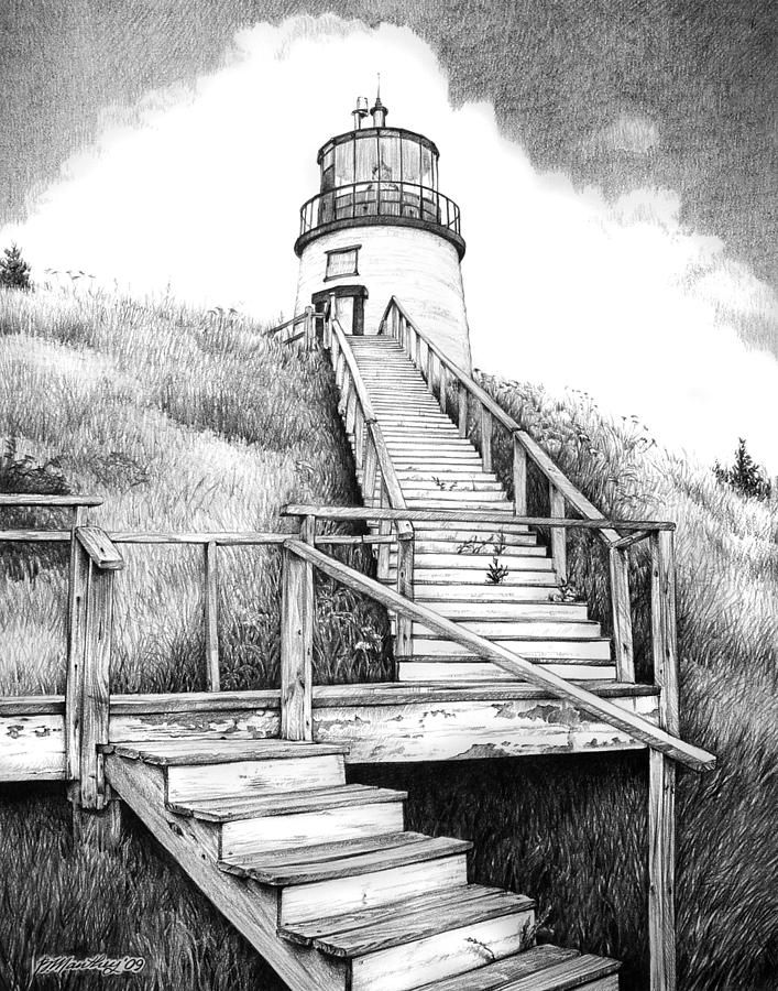Owl's Head Lighthouse Drawing by Bob Manthey