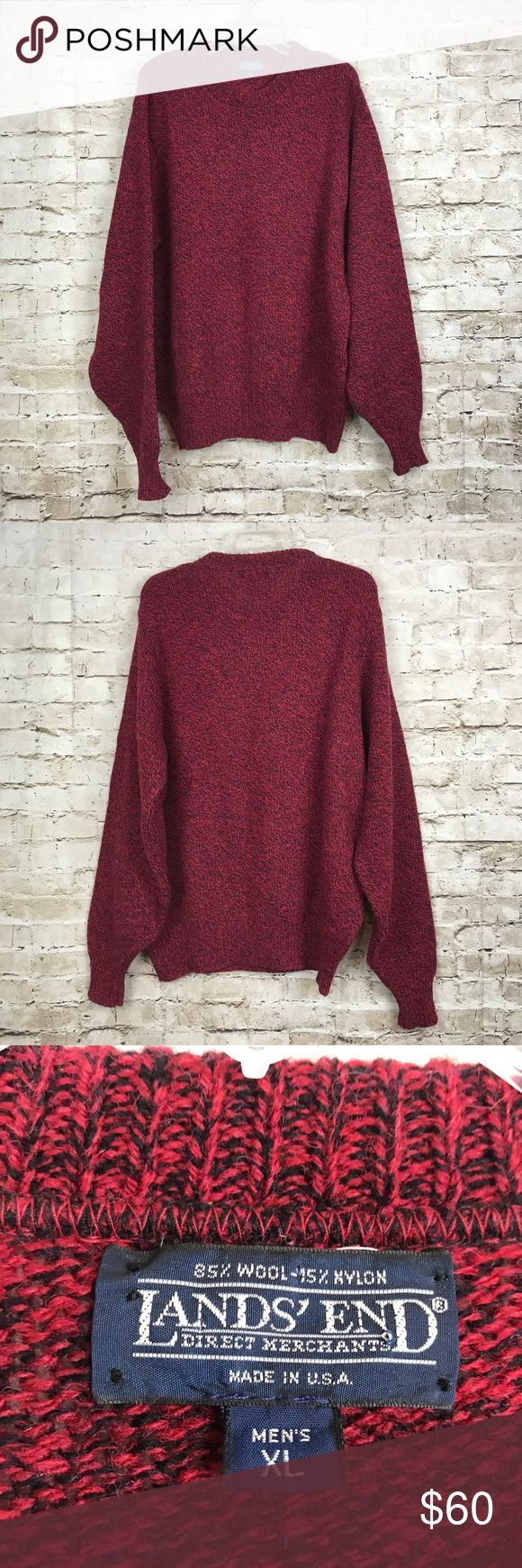 """LANDS END Mens Sweater XL Wool Nylon Made in USA LANDS END Mens Sweater Size XL Red Black Pullover Ski Wool Nylon Made in USA  Excellent condition. 30"""" shoulder to hem and 27"""" armpit to armpit but will stretch further. Lands' End Sweaters Crewneck"""