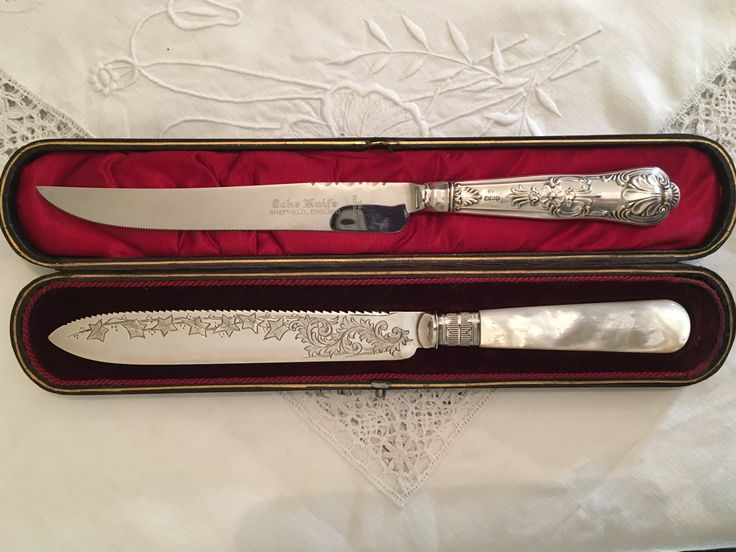 Silver handled and Mother of Pearl handled Wedding Cake knives