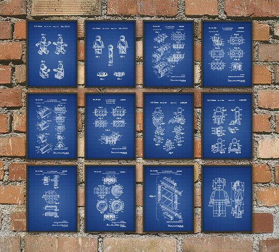 Lego Patent Prints Set of 12 - Lego Wall Art Posters - Lego Home Decor - Lego Blueprints - Boys Bedroom Wall Art - Lego Christmas Gift Idea  These