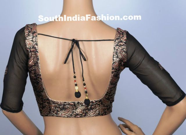 Quarter Sleeves Black Brocade Blouse Celebrity Sarees, Designer Sarees, Bridal Sarees, Latest Blouse Designs 2014 South India Fashion