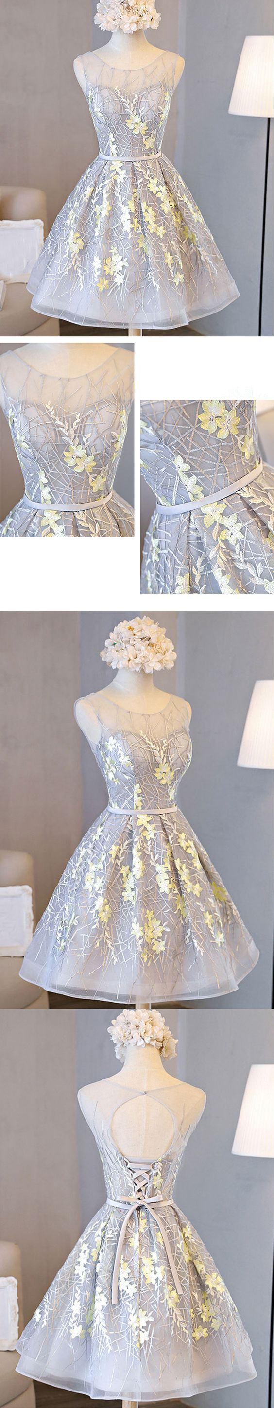 Beautiful A line tulle lace short prom dress, homecoming dresses,YY412