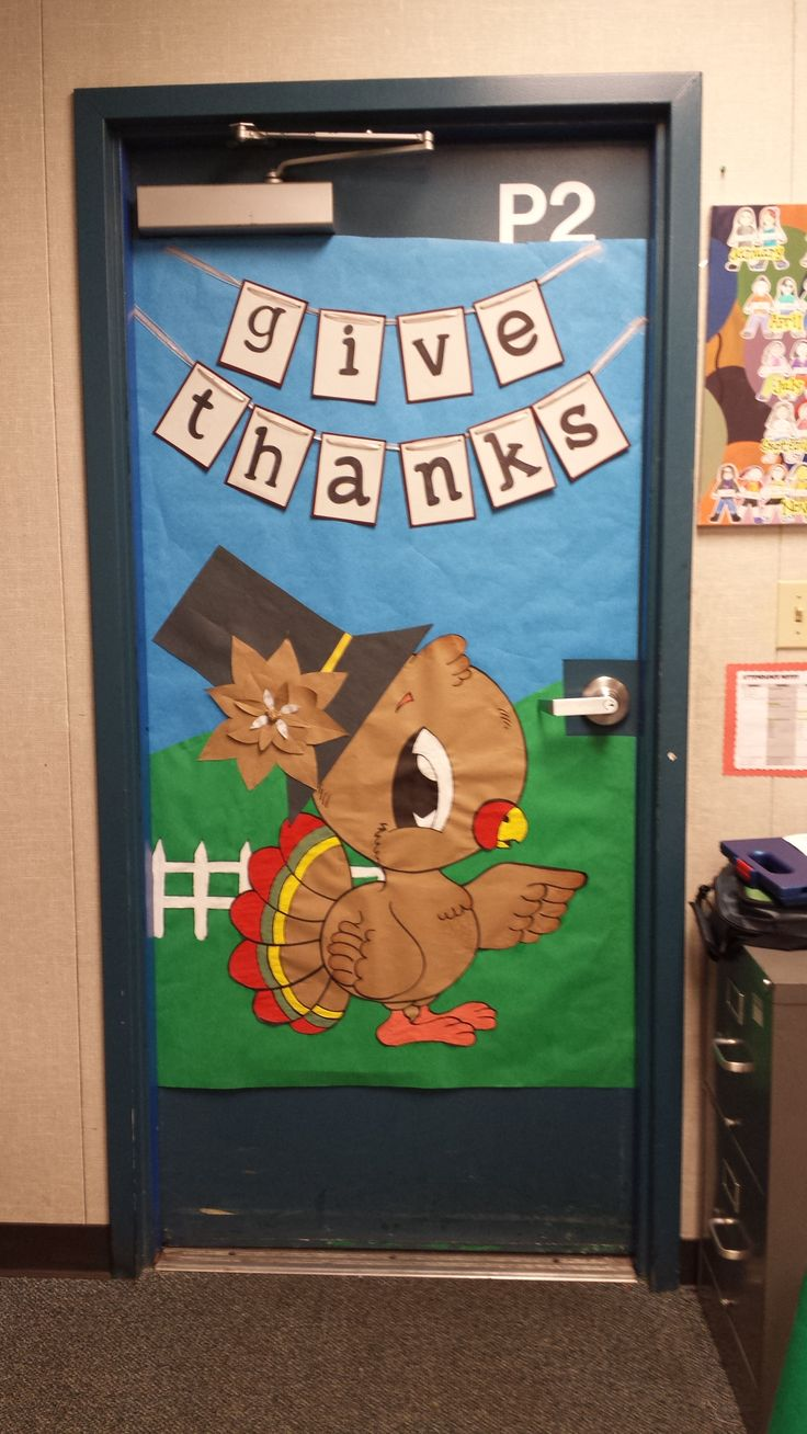 Cartoon classroom door - Diy Thanksgiving Classroom Door Decoration
