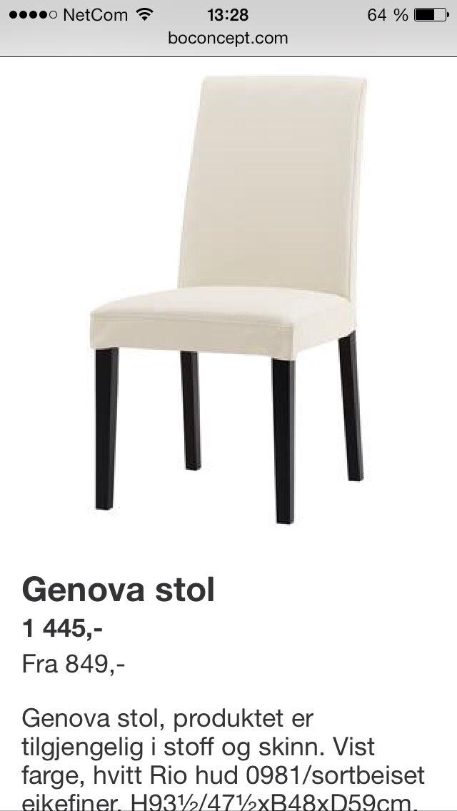 Boconsept spisebordstoler. Må ha lyse ben!