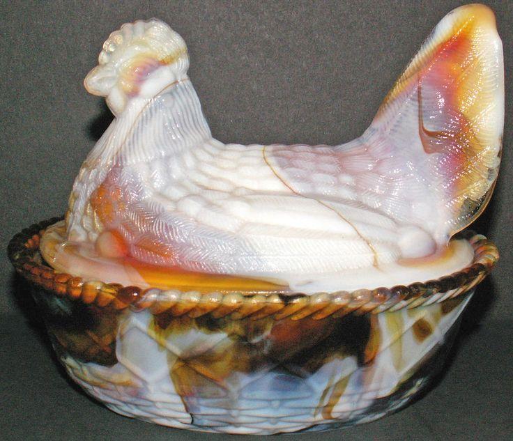 "Vintage Westmoreland Glass Ruby Marble Hen On Nest Pattern 5.5""l Covered Dish $119.00 #WestmorelandGlassCompany"