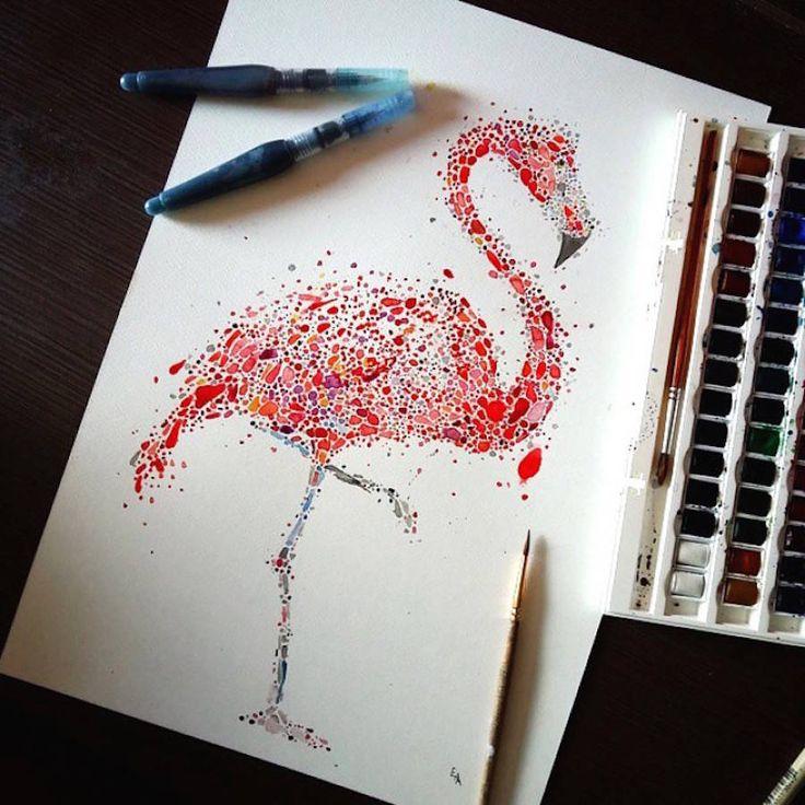 des dessins danimaux avec des points multicolores par Ana Enshina  Dessein de dessin