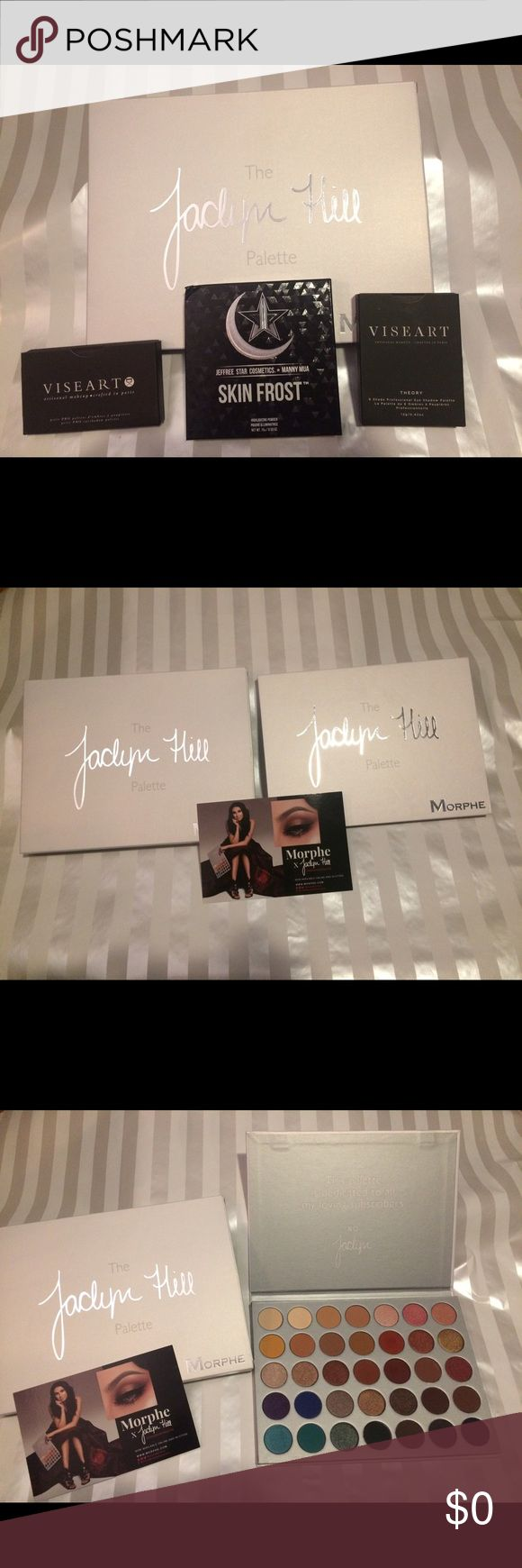 Not for sale just showing Bundle trade for my morphe and jackalyn hill pallet 2 visart pallets in theory and petite pro in minx and Jeffry star and manny mua skin frost in eclipse for abh Mario pallet violet voss pro pallet and Kylie holiday pallet and farsali unicorn elexir Makeup