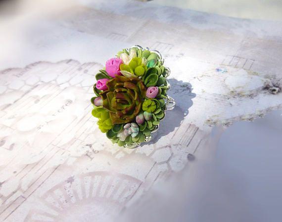 Succulent jewellery Succulent ring Succulent flower ring Mini