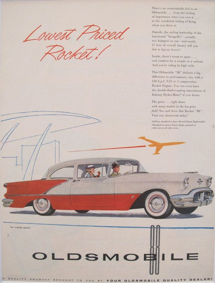 """1950s Matted American Car Advertisement, Oldsmobile Rocket. A fabulous lithographic car advertisement printed in the 1950s and extolling the advantages of owning an Oldsmobile, including """"the feeling of importance when you own it... to the wonderful feeling of flying when you drive it."""""""