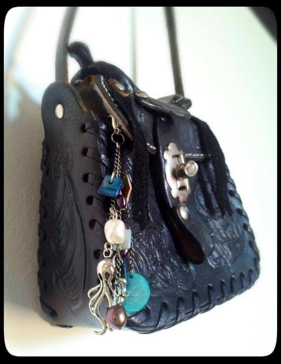 Pearls & Octopus Beachy Nautical Handbag/Zipper by washdupwondrs