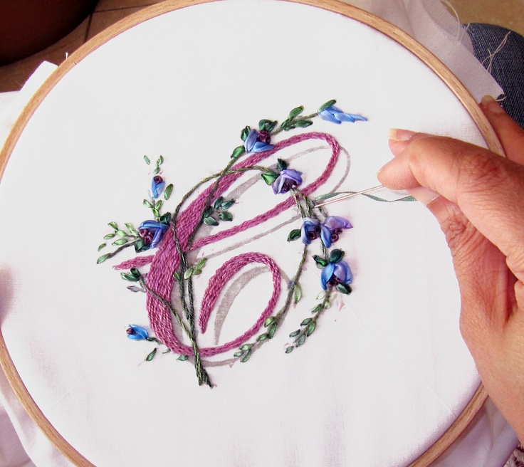 Ribbon Embroidery Monogram