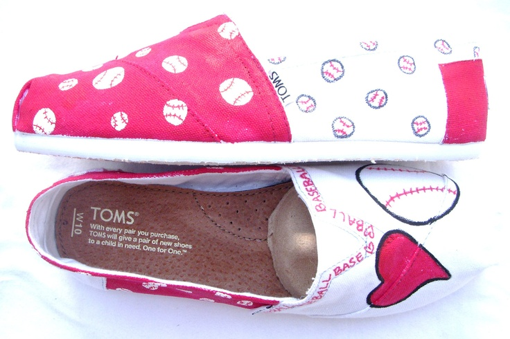 The Baller - Red and White Custom TOMS. $125.00, via Etsy.