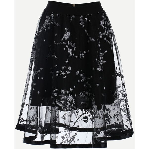 Blossom Print Mesh Overlay Midi Skirt - Black (35 AUD) ❤ liked on Polyvore featuring skirts, bottoms, calf length skirts, a line skirt, flower print skirt, knee length a line skirt and floral skirt