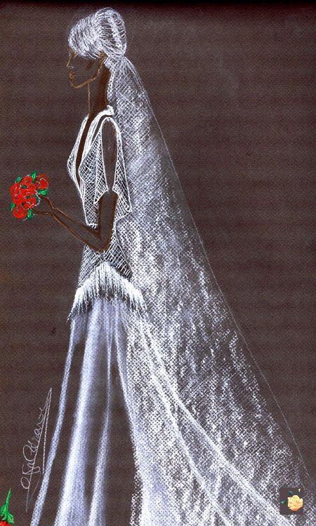Vestido de novia en gazar y chaleco de malla plata