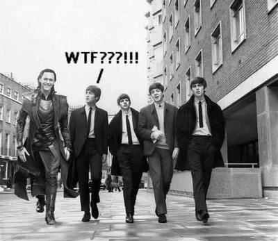 Lmao xD ♥ The Beatles and Loki in one picture  = flippin AWESOME!