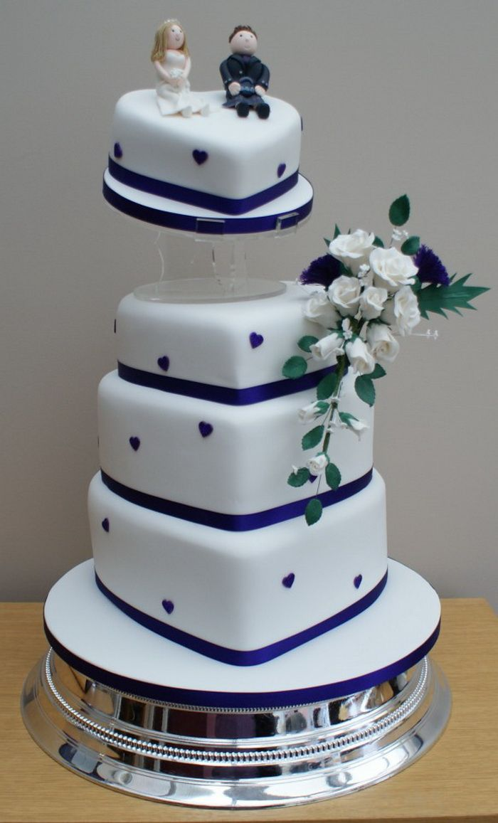 wedding, cake, hearts, royal blue