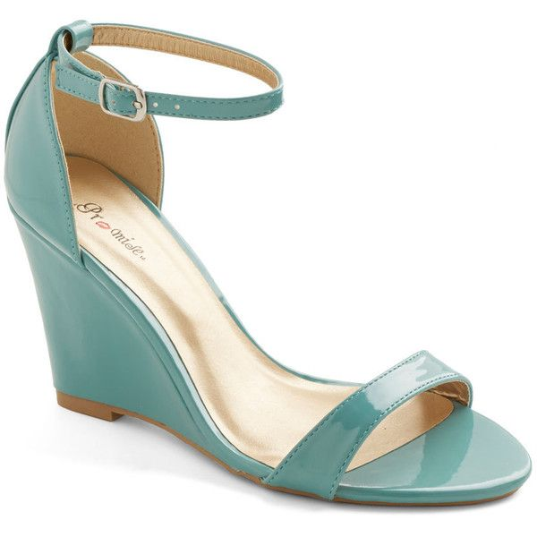 ModCloth Minimal One Suite Day Wedge (52 AUD) ❤ liked on Polyvore featuring shoes, wedges, blue, heels, mint, wedge heel shoes, blue shoes, high wedges shoes, blue wedge shoes and wedge shoes
