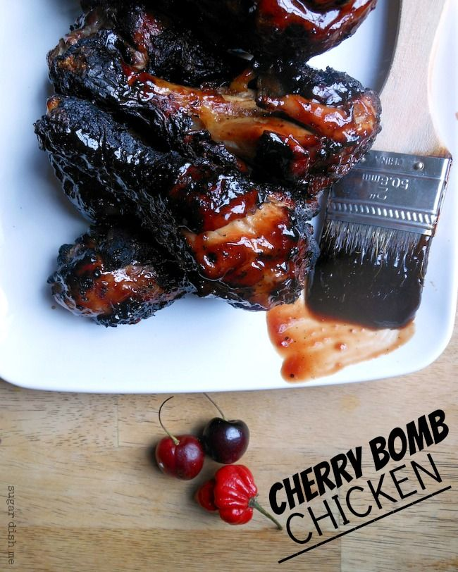 Cherry Bomb Chicken A sweet and spicy grilled chicken marinated in a cherry pepper brine and then covered in a cherry pepper glaze.