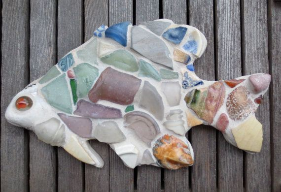 Sea Glass Mosaic Bluegill Fish by maysprout on Etsy