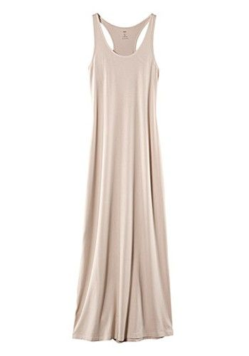 Beige Round Neck Sleeveless Maxi Moda Dress